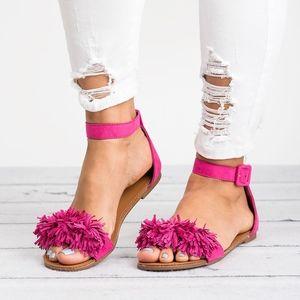 Fuchsia Fringe Ankle Strap Sandals - Shine